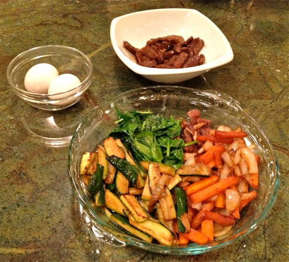 Prepared Vegetables, Bulgogi and Raw Eggs