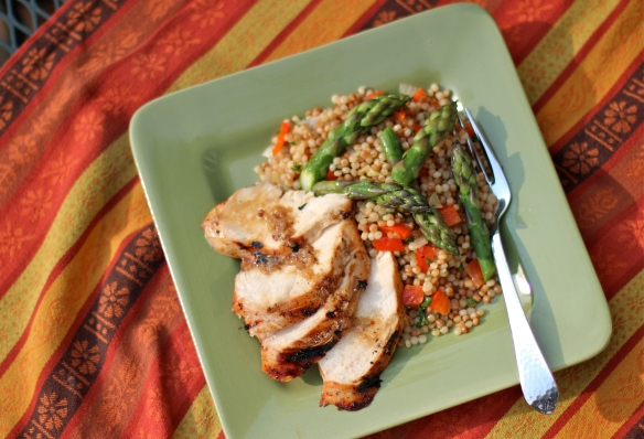Grilled Chicken Plated with Couscous and Asparagus