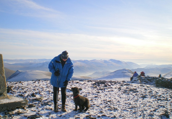 Splash and I, Skiddaw Summit, Peak District, England