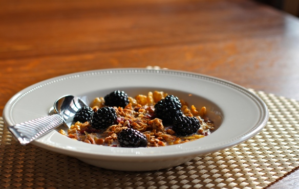 Granola and Fresh Blackberries